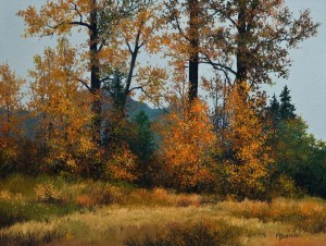 "SOLD ""Shades of Autumn,"" by Merv Brandel 9 x 12 - oil $780 Unframed $975 in show frame"