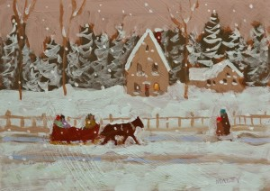 "SOLD ""The Snowy Trip"" by Paul Healey 5 x 7 - acrylic $250 Unframed $425 in show frame"