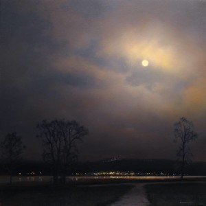 "SOLD ""Spanish Banks Nocturne"" by Renato Muccillo 11 x 11 - oil $2160 in show frame"