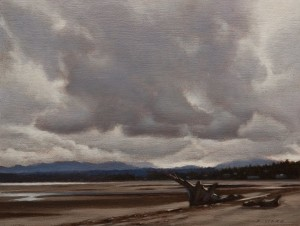 "SOLD ""Storm Sky Over Rathtrevor"" by Ray Ward 6 x 8 - oil $555 Unframed $720 in show frame"