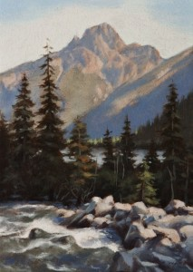 "SOLD ""Stream from Iceberg Lake"" by Ray Ward 5 x 7 - oil $450 Unframed $610 in show frame"