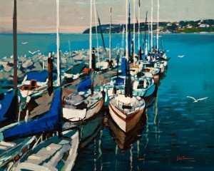 "SOLD ""Summer Sailboats"" by Min Ma 8 x 10 - acrylic $670 Unframed $835 in show frame"