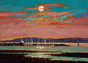 "SOLD ""Sunset at the Pier, White Rock"" by Min Ma 5 x 7 - acrylic $450 Unframed $575 in show frame"