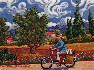"SOLD ""Vincent's Sunday Ride"" by Michael Stockdale 6 x 8 - acrylic $300 Unframed $385 in show frame"