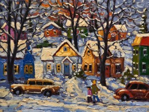 "SOLD ""A Walk in the Snow"" by Rod Charlesworth 12 x 16 - oil $1305 Unframed $1440 in show frame"