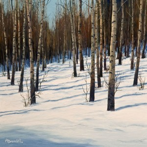 "SOLD ""The White Season,"" by Merv Brandel 12 x 12 - oil $1100 Unframed $1300 in show frame"