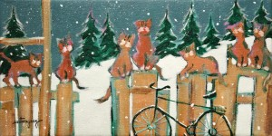 "SOLD ""Winter Cats"" by Claudette Castonguay 6 x 12 - acrylic $280 Unframed $370 in show frame"
