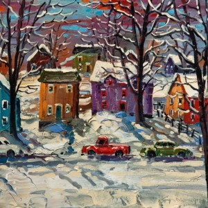 "SOLD ""Winter Shadows"" by Rod Charlesworth 12 x 12 - oil $1120 Unframed $1240 in show frame"