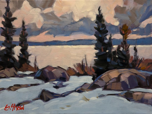 """Early Snow, N.W.T.,"" by Graeme Shaw 9 x 12 - oil $540 Unframed"