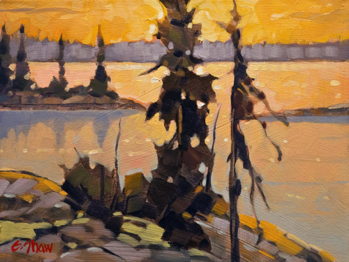 """Russell Lake, N.W.T.,"" by Graeme Shaw 9 x 12 - oil $540 Unframed"