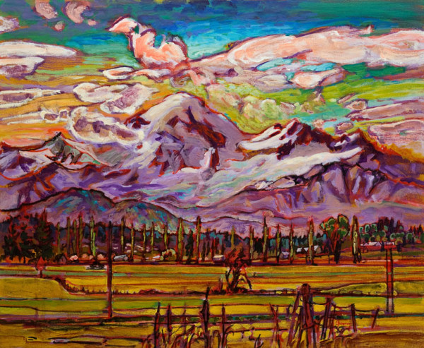 "SOLD ""Mount Baker,"" by Ed Loenen 20 x 24 - oil $2170 Custom framed"