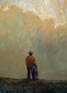 "SOLD ""Dad and Daughter,"" by Steve Coffey 22 x 30 – oil $1820 Unframed"