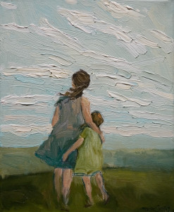 "SOLD ""Mother and Daughter Afternoon,"" by Steve Coffey 8 x 10 – oil $630 Unframed"