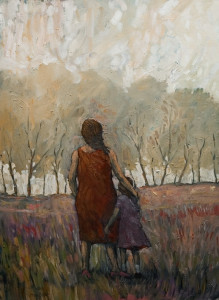 "SOLD ""Mother and Daughter and Treeline,"" by Steve Coffey 22 x 30 – oil $1820 Unframed"