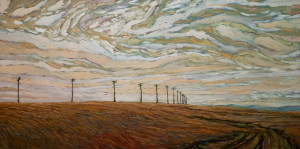 "SOLD ""Old Pole Road,"" by Steve Coffey 24 x 48 – oil $2520 (thick canvas wrap without frame)"