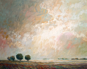 "SOLD ""Alberta Summer Snow,"" by Steve Coffey 24 x 30 – oil $2050 Unframed"