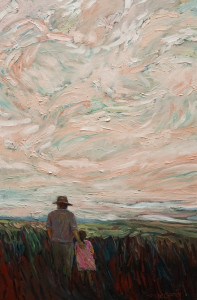 "SOLD ""A Dad and Daughter,"" by Steve Coffey 16 x 24 – oil $1440 Unframed"