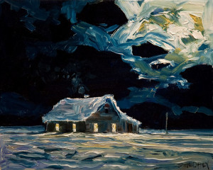 "SOLD ""December Shack,"" by Steve Coffey 8 x 10 – oil $630 Unframed $790 Custom framed"