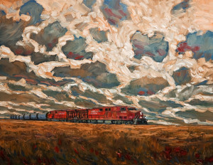 "SOLD ""Diesel and Hard Sky,"" by Steve Coffey 22 x 28 – oil $1800 Unframed"
