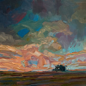 "SOLD ""Dusk Combine,"" by Steve Coffey 12 x 12 – oil $865 Unframed"