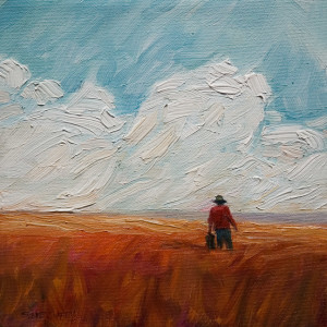 "SOLD ""Farmer in Summer Field,"" by Steve Coffey 8 x 8 – oil $560 (thick canvas wrap without frame)"