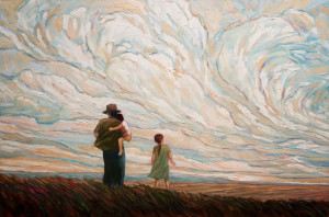 "SOLD ""Father With Children,"" by Steve Coffey 24 x 36 – oil $2100 Unframed"