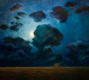 "SOLD ""Late Moon and Farmhouse,"" by Steve Coffey 36 x 40 – oil $2660 Unframed"