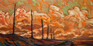 "SOLD ""Late Poles and Tracks,"" by Steve Coffey 12 x 24 – oil $1300 (thick canvas wrap without frame)"