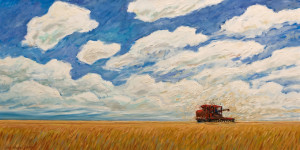 "SOLD ""Late Summer Combine,"" by Steve Coffey 20 x 40 – oil $2280 Unframed"