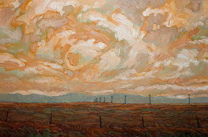 "SOLD ""Morning Fence and Poles,"" by Steve Coffey 24 x 36 – oil $2160 Unframed"