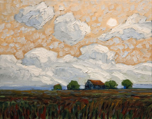 "SOLD ""Old Barn in Field,"" by Steve Coffey 11 x 14 – oil $950 Unframed"