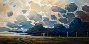 "SOLD ""Passing Storm and Poles,"" by Steve Coffey 24 x 48 – oil $2590 Unframed"