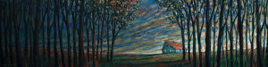 "SOLD ""Prairie Woods Morning Shack,"" by Steve Coffey 12 x 48 – oil $2280 Unframed"