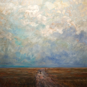 "SOLD ""Ride Home After the Rain,"" by Steve Coffey 36 x 36 – oil $2735 Unframed"