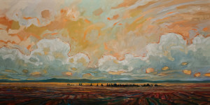 "SOLD ""Southern Farm Looking West,"" by Steve Coffey 24 x 48 – oil $2590 Unframed"