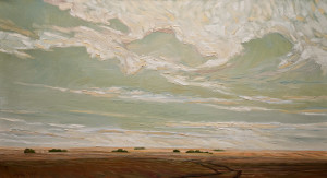 "SOLD ""Sun Strip and Trail,"" by Steve Coffey 20 x 36 – oil $2130 Unframed"