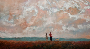 "SOLD ""Wind Walk,"" by Steve Coffey 20 x 36 – oil $2020 Unframed"
