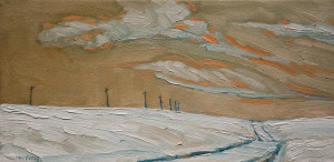 "SOLD ""Winter Pole Road,"" by Steve Coffey 6 x 12 – oil $630 Unframed"