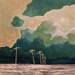 "SOLD ""A Winter Sun and Poles,"" by Steve Coffey 20 x 20 – oil $1440 Unframed"