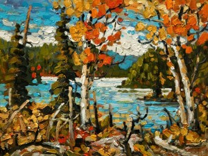 """Aspens, Kentucky Lake,"" by Rod Charlesworth 9 x 12 - oil $905 Unframed $1135 Custom framed"