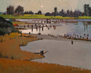 "SOLD ""Blackie Spit from Secret Beach"" (2011), by Robert Genn 24 x 30 – acrylic $13,200 Unframed"