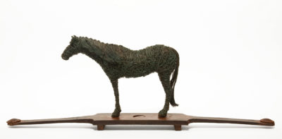 "SOLD ""Blue Horse,"" by Janis Woode copper wire, steel - 8 1/2"" (H) x 23"" (L) x 3"" (W) $3000"