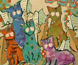 "SOLD ""Les Chats des Musiciens,"" by Claudette Castonguay 10 x 12 – acrylic $390 Unframed"
