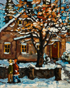 "SOLD ""Early Snow,"" by Rod Charlesworth 8 x 10 – oil $750 Unframed $970 Custom framed"