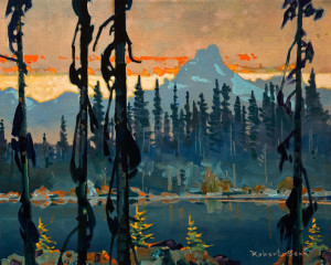 "SOLD ""Evening, The Cathedral from Lake O'Hara"" (2011), by Robert Genn 16 x 20 – acrylic $6600 Unframed"