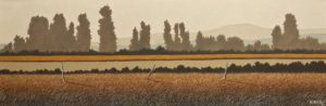 "SOLD ""Harvest Evening,"" by Ken Kirkby 12 x 36 – oil $1300 Unframed"