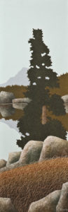 "SOLD ""Mirror Lake No. 1,"" by Ken Kirkby 12 x 36 – oil $1300 Unframed"