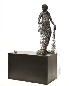 "SOLD ""The Obsession,"" by Janis Woode steel plate, wrapped steel wire – 18"" (H) $3000"