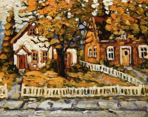 "SOLD ""October Colours,"" by Rod Charlesworth 8 x 10 – oil $750 Unframed $870 Custom framed"
