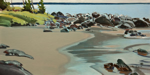 "SOLD ""Point, Hornby"" (1995), by Robert Genn 12 x 24 - acrylic $6500 Unframed"